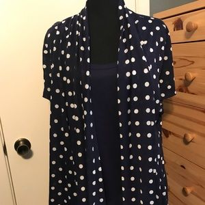 Navy polka dotted cardigan with built in shirt